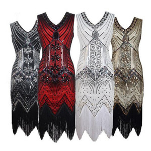 Vintage V neck sleeveless The Great Gatsby flapper wedding prom party fringe glitter sequin embroidered evening sequin dresses