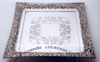 Brass Square Shape Serving Tray Silver Plated