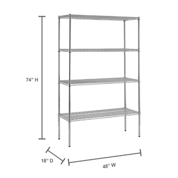 chrome wire showing shelf / 74 in. H x 48 in. W x 18 in. D 4-Shelf Chrome Wire Commercial Shelving Unit