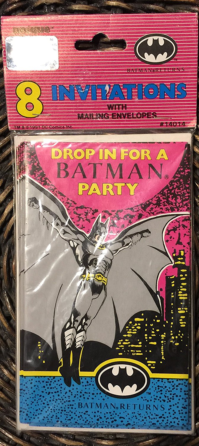 1991 Batman Returns 8 Invitations with Mailing Envelopes #14014 (8 Invitation) Says Drop in for a Batman Party Batman Returns on Front)(8 Invitations with Mailing Envelopes)