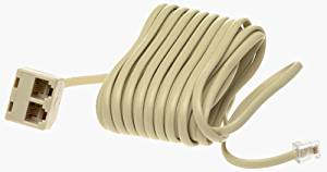 Leviton C2427-25I 25-Foot Phone Line Dual Extension Cord, Color Ivory