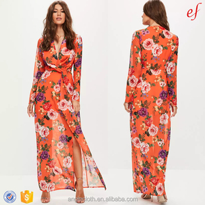 China Clothes Factory Fashion Orange Floral Women Long Sleeve Maxi Dress
