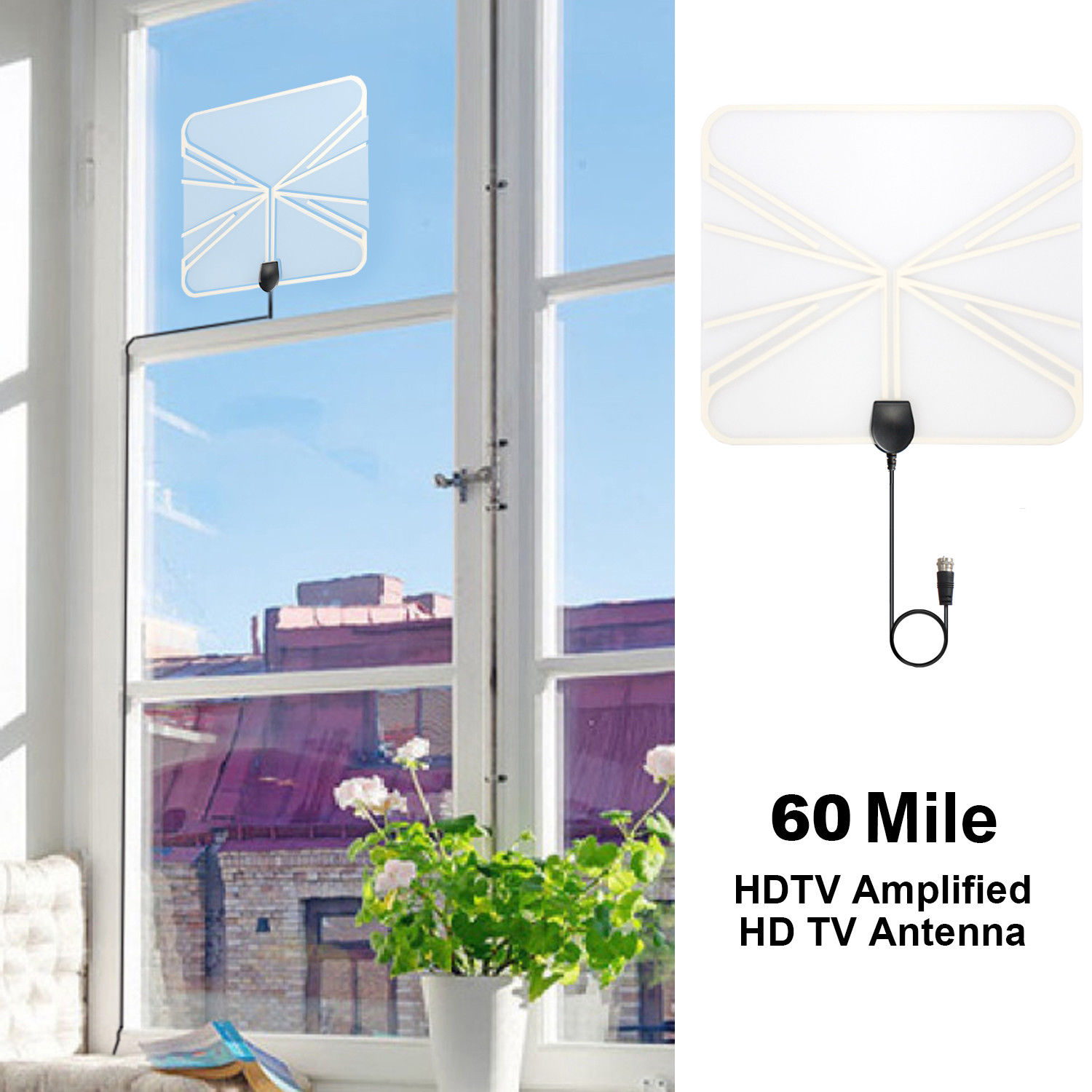 50 Miles Range Digital Indoor Ultra Thin Transparent HD TV Antenna