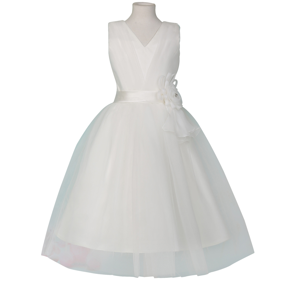 e5e2732927f Get Quotations · V Neck Glitz Pageant Dresses For Little Girls Two Layers Flower  Girl Dress White First Communion