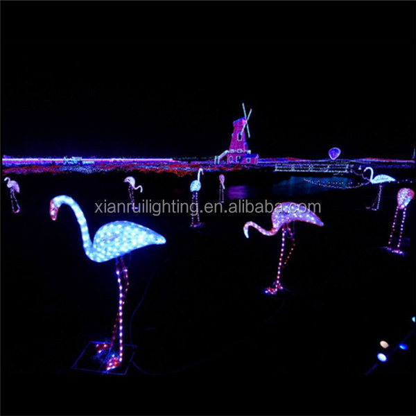 Outdoor decoration 3D LED christmas acrylic lighted pink flamingo