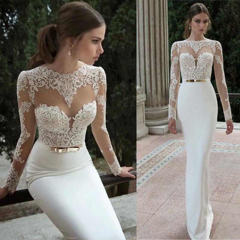 Elegant Silk Wedding Dresses With Sleeves: 2016 Elegant Sexy Wedding Dresses Satin Bridal & Events