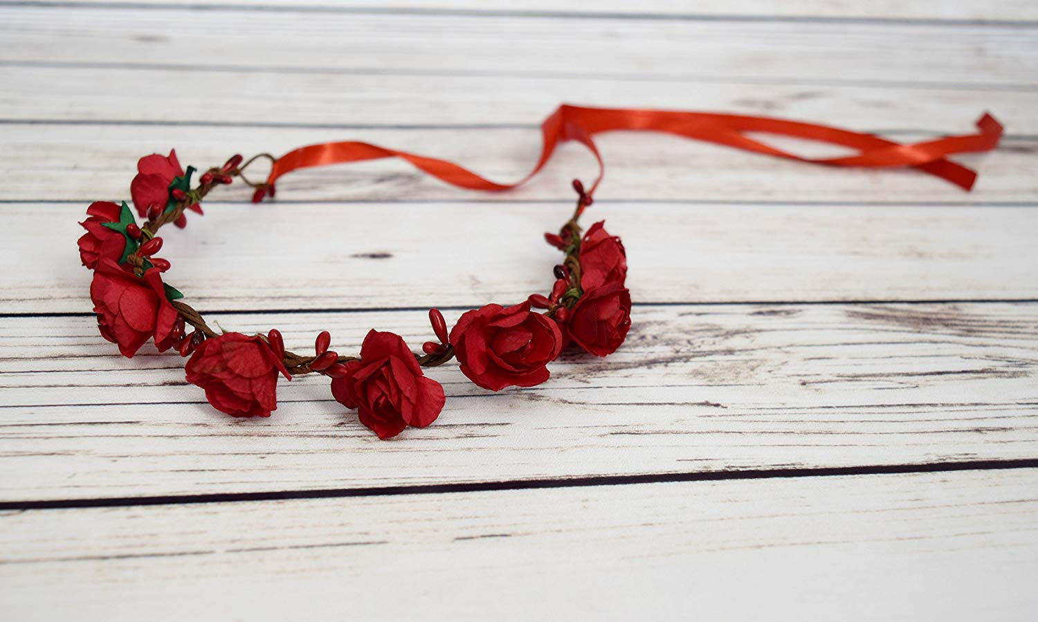 Handcrafted Red Rose Flower Crown - Romantic Halo - Red Flower Girl Crown - Woodland Flower Crown - Red Rose Accessory - Adult Flower Crowns
