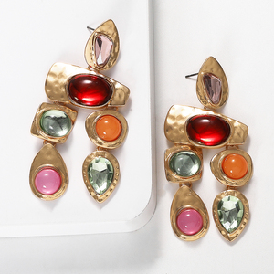 Barlaycs 2019 Fashion Statement Vintage African India Gold Plated Resin Acrylic Drop Dangle Earrings for Women Jewelry