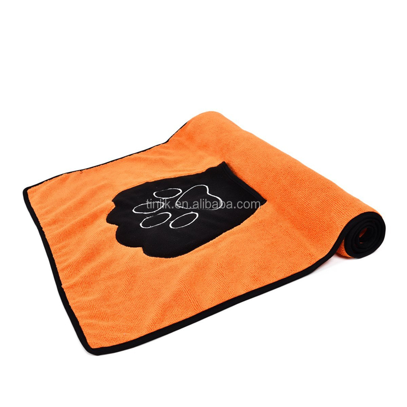 Wholesale Microfiber Pet Drying Mitts and Towel with Paw Embroidery Pocket Dog Dry Towel