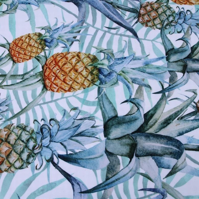 china textile custom elastane pineapple fruit scuba digital printing fabric organic
