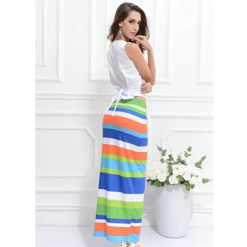 e1b2448c8c30 Get Quotations · 2 Piece Dress Sets Ladies Elegant Maxi Dress Striped Prints  Women Sexy Strappy Dresses Tunic Vestidos