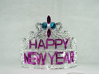 9cm highX12cm diameter metallic silver happy new year plastic tiara tiaras and crowns