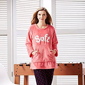1c68cade0cd5 Get Quotations · MYM Ladies winter warm long sleeve ladies padded Pajamas  flannel pajamas brand Home Service Kit