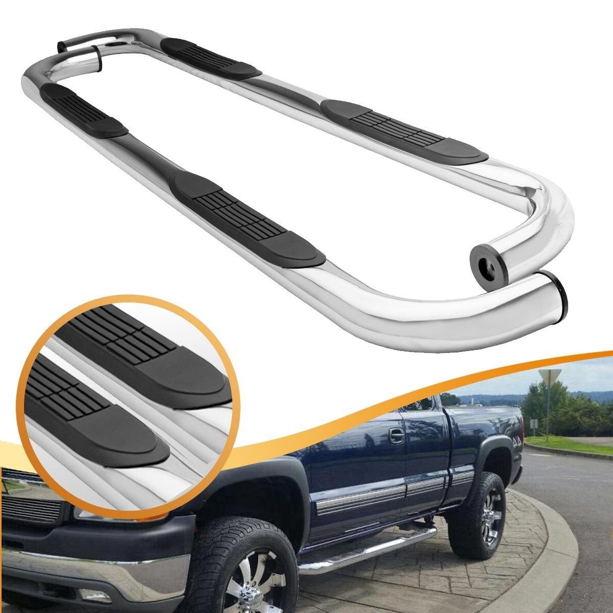 "3"" Stainless Steel Chrome Side Steps Nerf Bars Running Boards for 1999-2013 Chevy Silverado 1500 2500HD 3500HD and 1999-2013 GMC 1500 2500HD 3500HD Extended Cab"