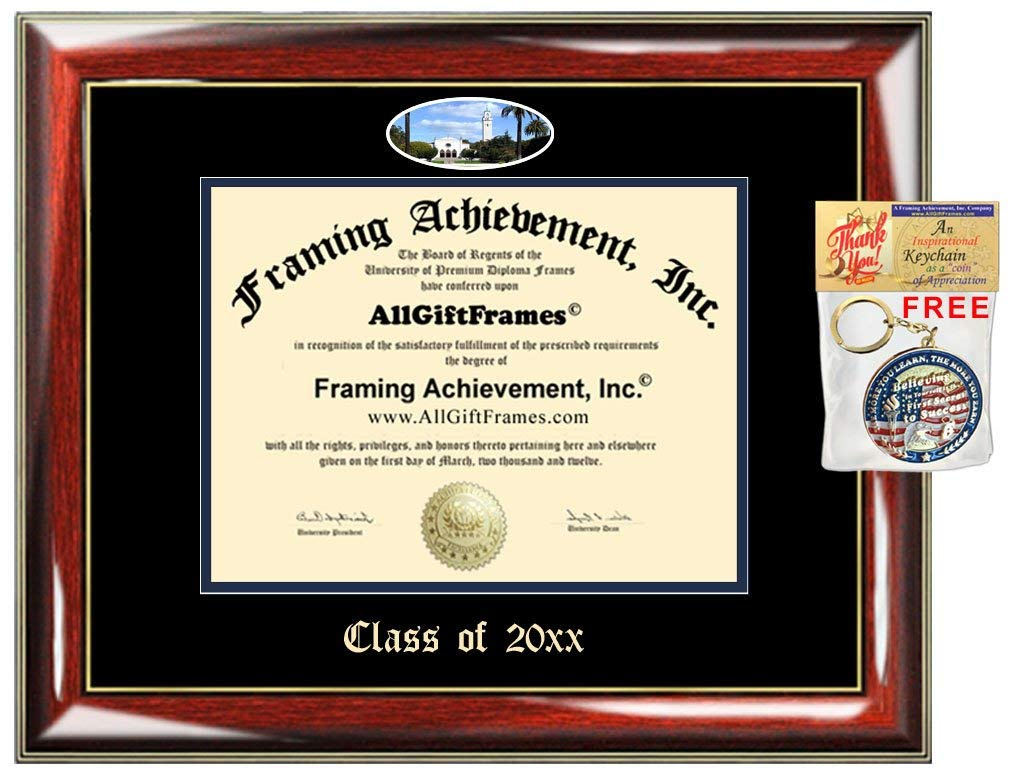 AllGiftFrames Custom Diploma Frame Embossed Loyola Marymount University College Best Graduation Degree LMU Frame Double Mat Campus Fisheye Picture Frame Cheap Gift