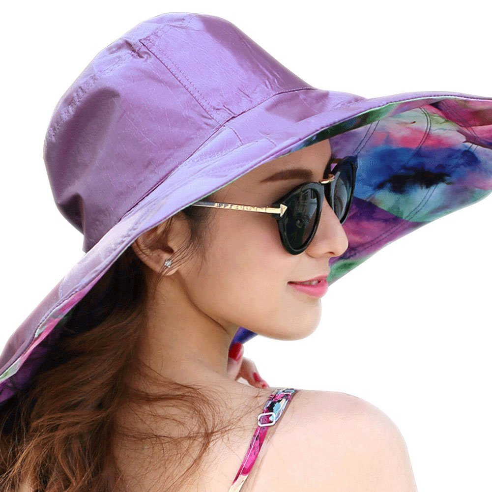 947a3b68f57 Get Quotations · QCHOMEE Women s Canvas Big Brim Hat Beach Cap Foldable Sun  Hat Anti-UV Sun Protective