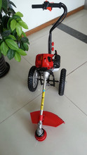 52cc gasoline hand push brush cutter with 2 wheels