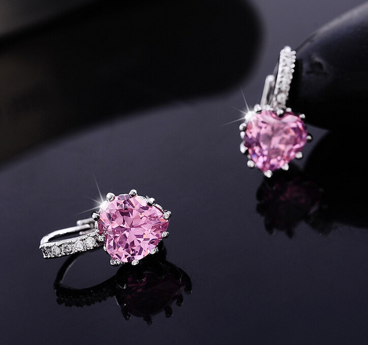 2015 fashion earring Real Platinum Plated Luxury Hoop Earring Inlay Zircon Fashion Brilliant Heart Ladies Wedding Earring