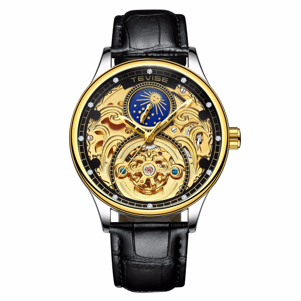 New coming black gold genuine leather automatic men's watch own label watch Men, Any color are available