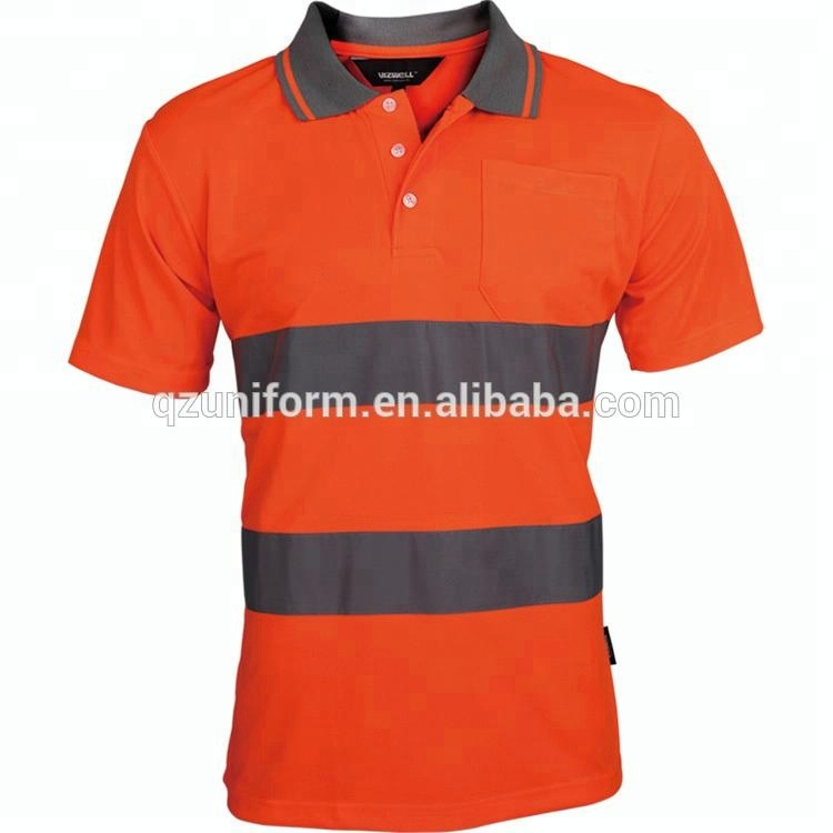 Custom <strong>Orange</strong> Men's Work High Visible Reflective Safety Polo Shirt