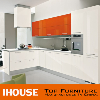 Guangdong Prefab Modern High Gloss Orange Colour Kitchen Cabinets