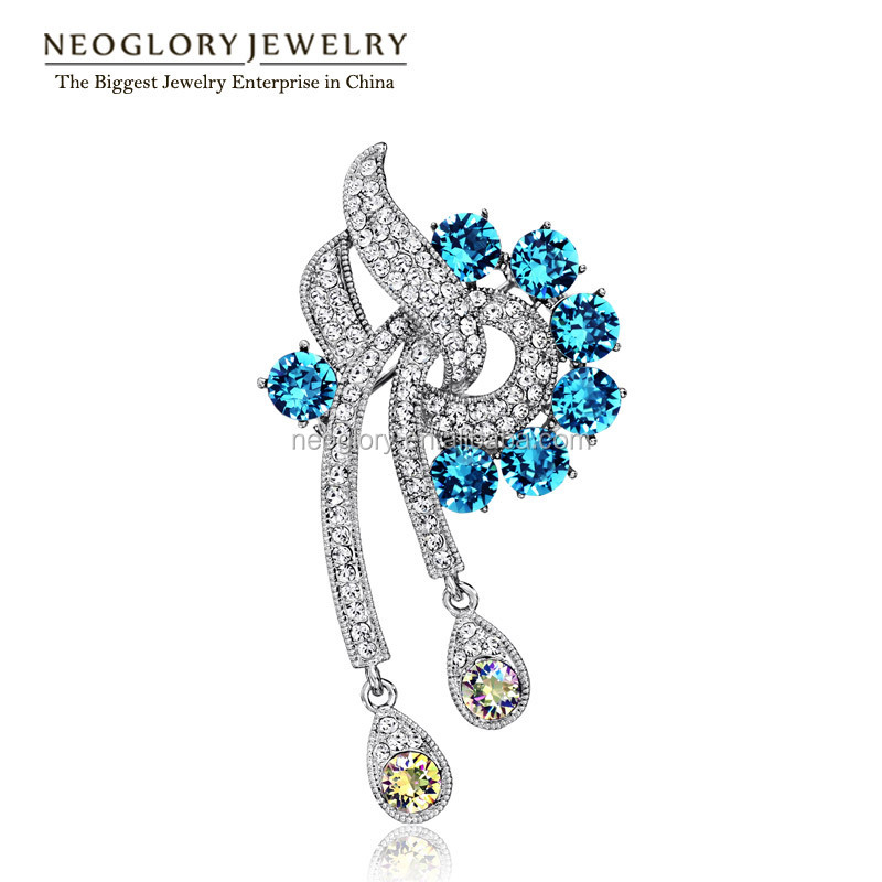 Neoglory Auden Rhinestone Fashion Brooch Type Jewelry for Women Alloy Platinum Plated Charm Accessories 2016 New