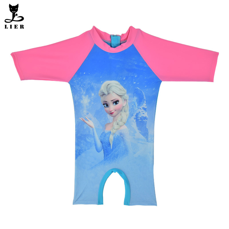 78b9a1a665 Get Quotations · Girls Elsa Rash Guard Kids Half Sleeve One Piece Swimsuit Sun  Protection Bathing Suit For Baby