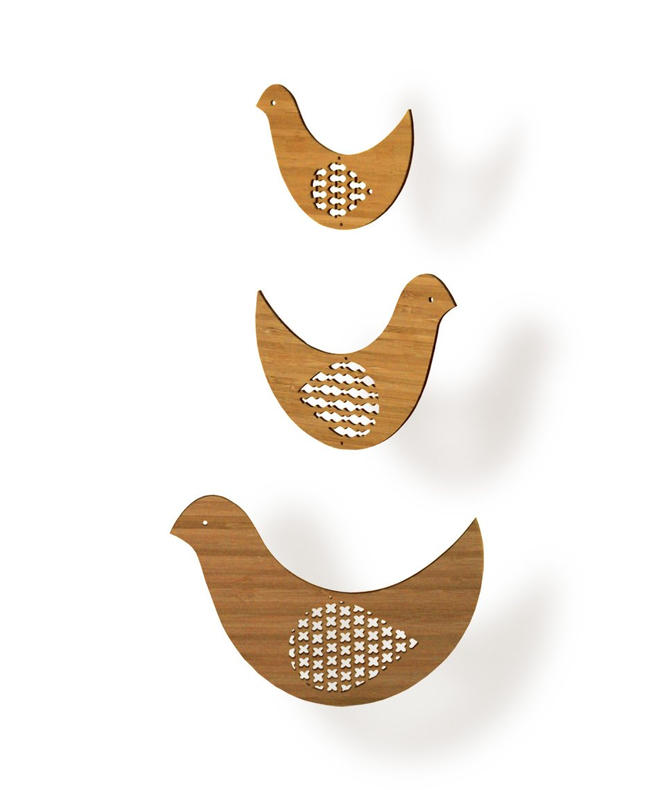 Petit Collage Classic Bamboo Mobile, Bird Trio