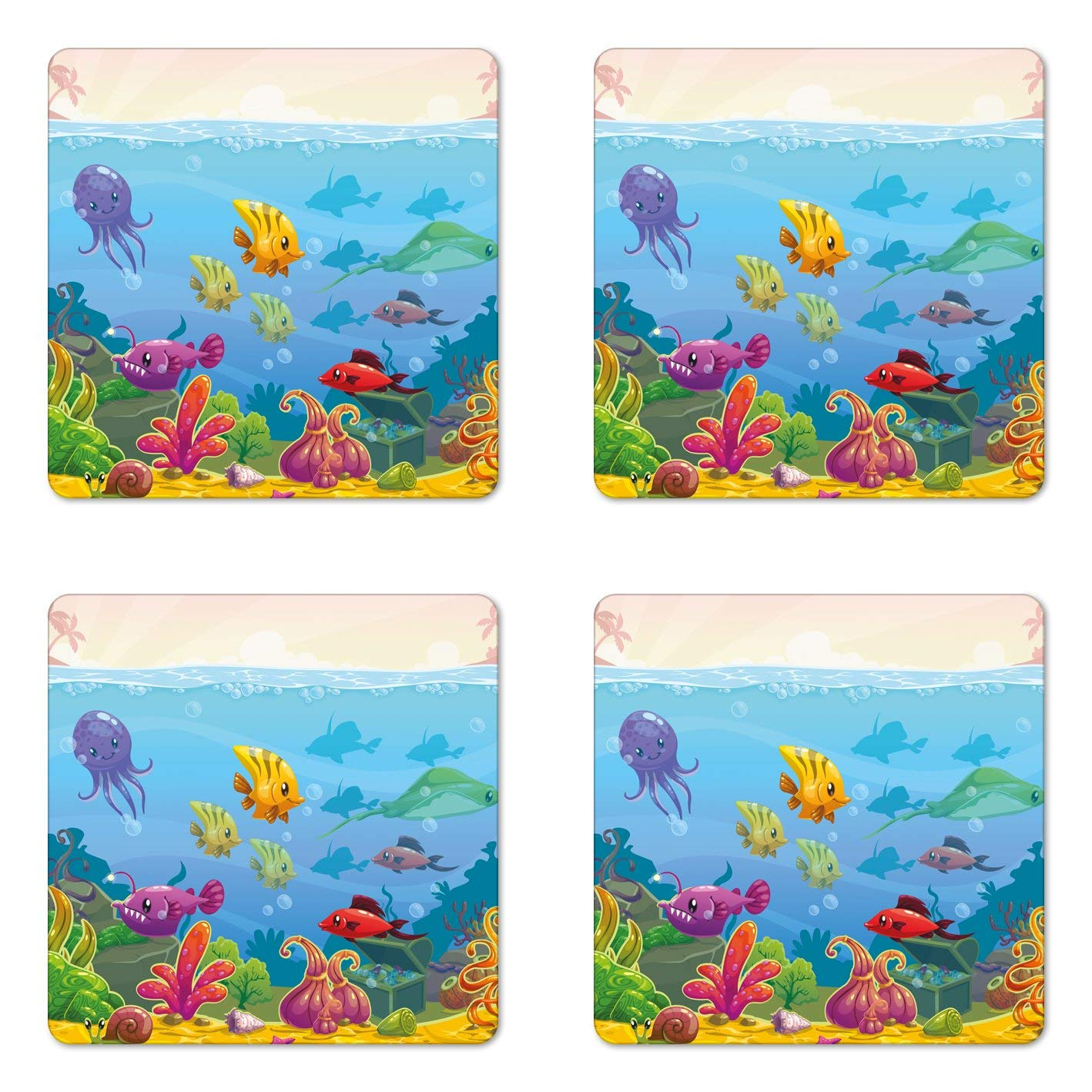 Lunarable Aquarium Coaster Set of Four, Funny Cartoon Style Underwater Scenery with Various Animals and Treasure Chest, Square Hardboard Gloss Coasters for Drinks, Multicolor