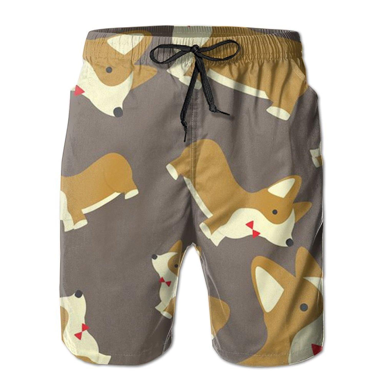 5d401959fe2fd Get Quotations · Corgi Dog Animal Novelty Sweat Releasing Men Beach Board  Shorts Surfing Beach Pants