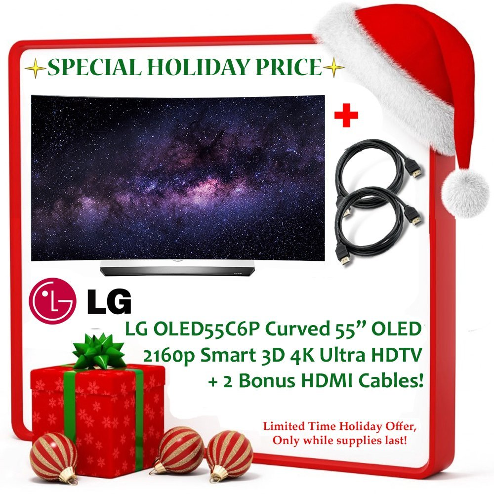 "Black Friday Deal Brand New! LG OLED55C6P Curved 55"" OLED 2160p Smart 3D 4K Ultra HD TV w/ High Dynamic Range - Silver + 2 Bonus HDMI Cables!"