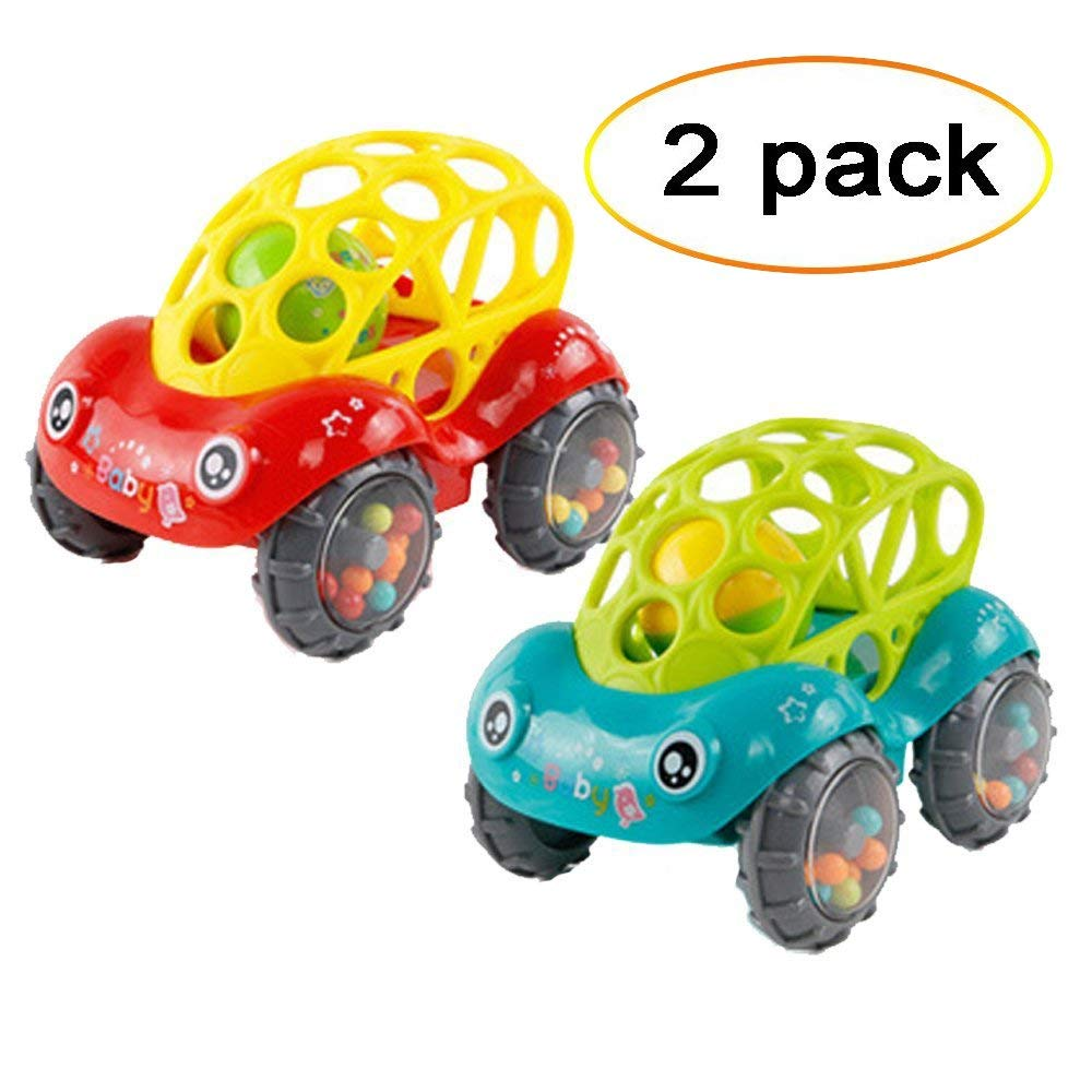 Bomach 2 Pieces Baby Toy Cars Soft Infant Rattle & Roll Toy Cars Easy to Grasp with Clear Rhythm Sounds for Kids,Toddlers(1 Red +1 Green)