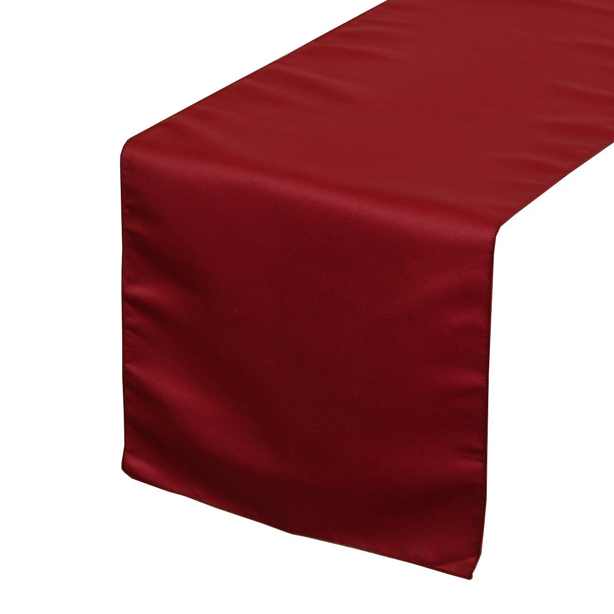 Your Chair Covers - 14 x 108 inch Lamour Table Runners Dark Red, Table Runner for Weddings, Events, Hotels and Catering Services