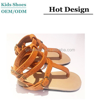 05fe397ab2a Summer Leather Girls Sandals Little Girls Roman Sandal Kids Gladiator Sandal  Shoes
