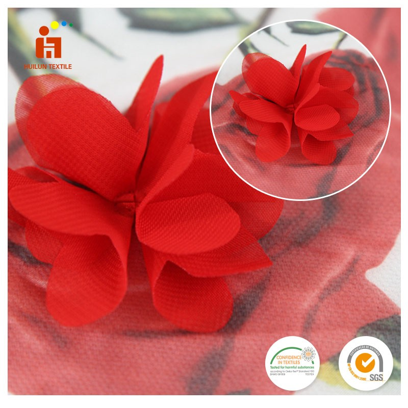 China textile manufacturer polyester 3D red rose flower embroidery printed chiffon african coral lace fabric wholesale