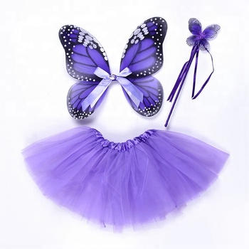 fd2b8ba8b Girls Purple Tulle Skirt With Butterfly Fairy Wings And Magic Wand ...