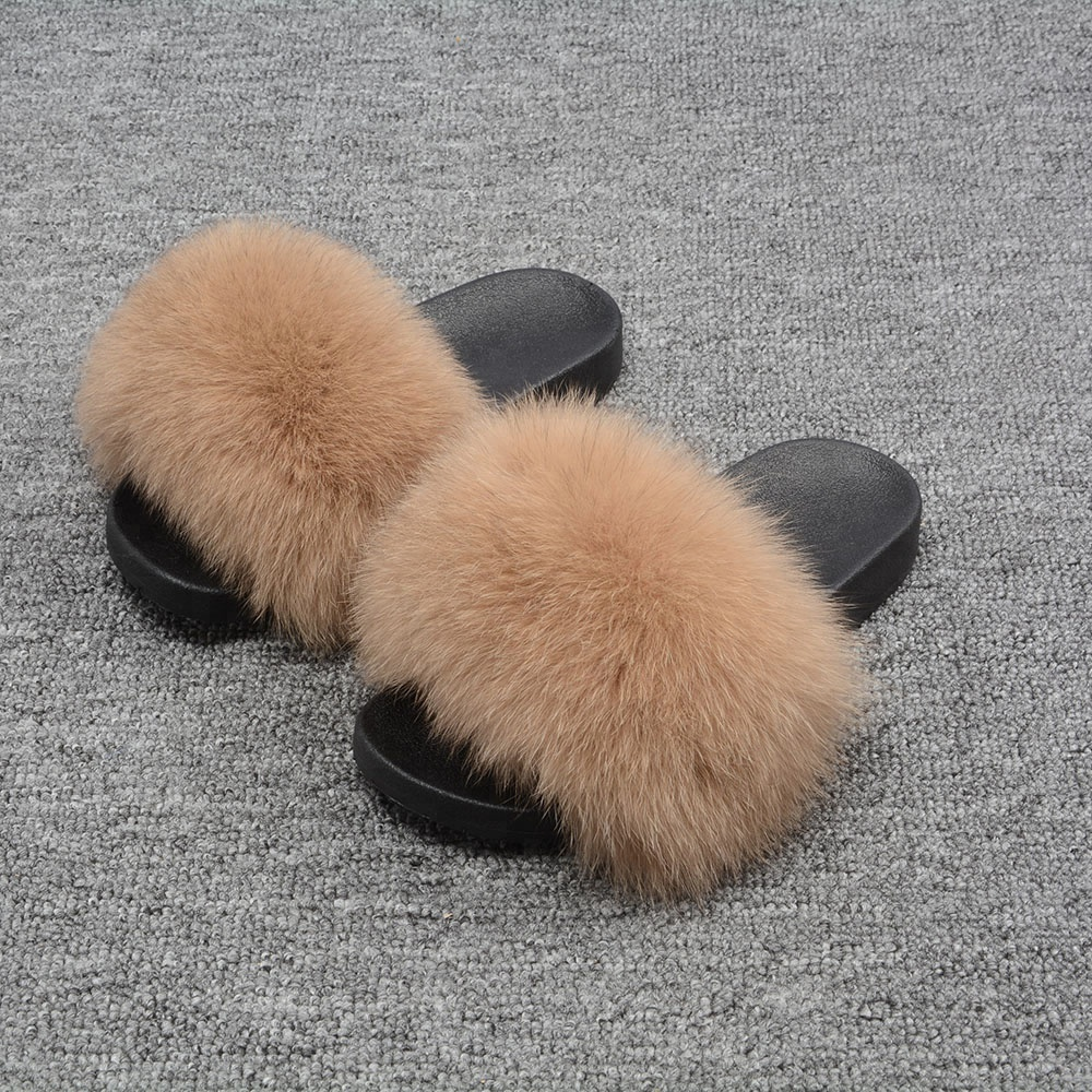 Fashion Design Colorful High Quality Soft Fur <strong>Slippers</strong> Real Fox Fur Slides For Lady