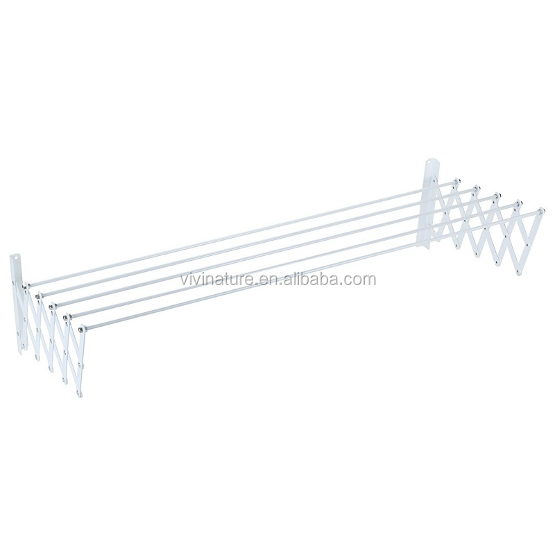 Extensible wall mounted clothes drying rack
