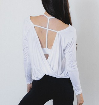 2a0b98f1a3e69 2018 Newest design clothes women long sleeve backless blouses Open Back  blank t shirt