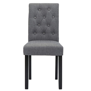 Fashion European Style Wood legs Wooden Fabric Hotel Upholstered Button TuftedBackrest Dining Chair