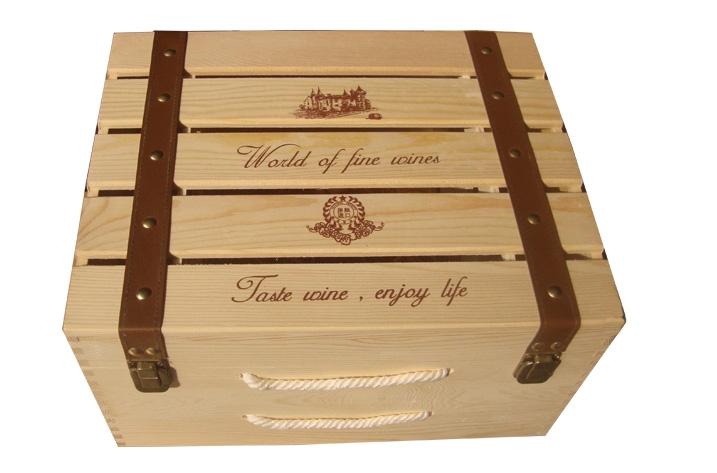 Caja de madera seis botellas de vino de la caja 6 botella de