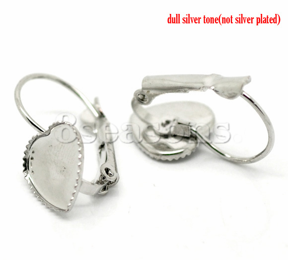 Hot Sell Silver Tone Heart Cabochon Setting Earring Wire Findings 24x14mm Lead ,Nickel Free,25 pairs