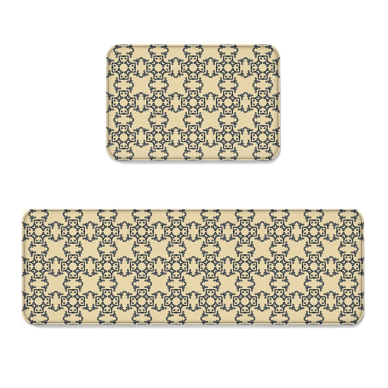 "Beauty Decor 2 Piece Non-Slip Kitchen Mat Runner Rug Set Abstract Doormat Area Rugs Ornamental Floral 15.7""x23.6""+15.7""x47.2"""