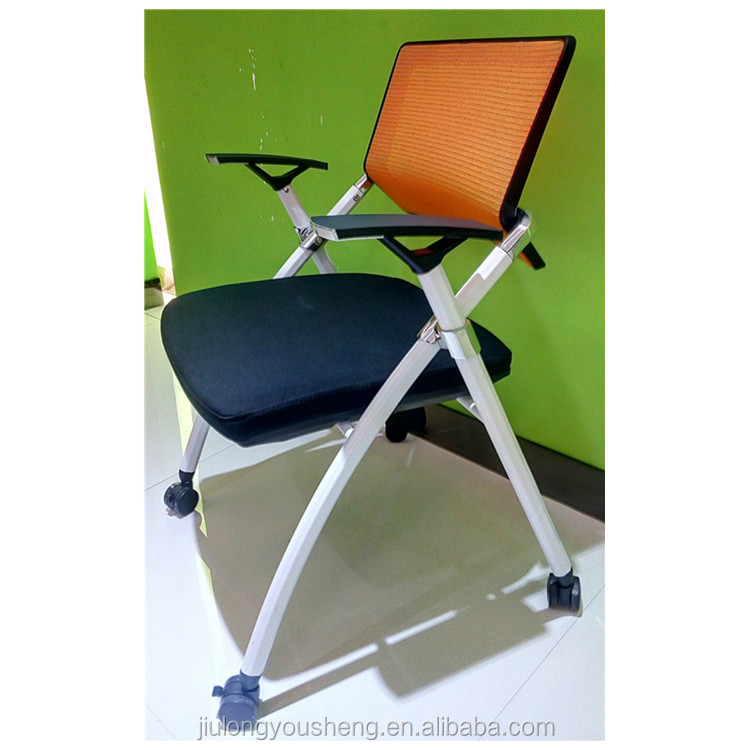 Training room foldable office chair with lockable wheel 306TC01 mesh conference chair meeting room chair