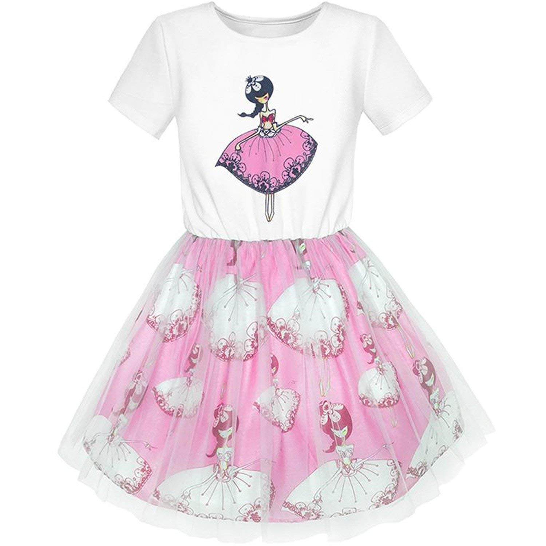 Nerefy Girls Dress Dancing Short Sleeve Summer Party Dresses Kids Clothes Size 5-10