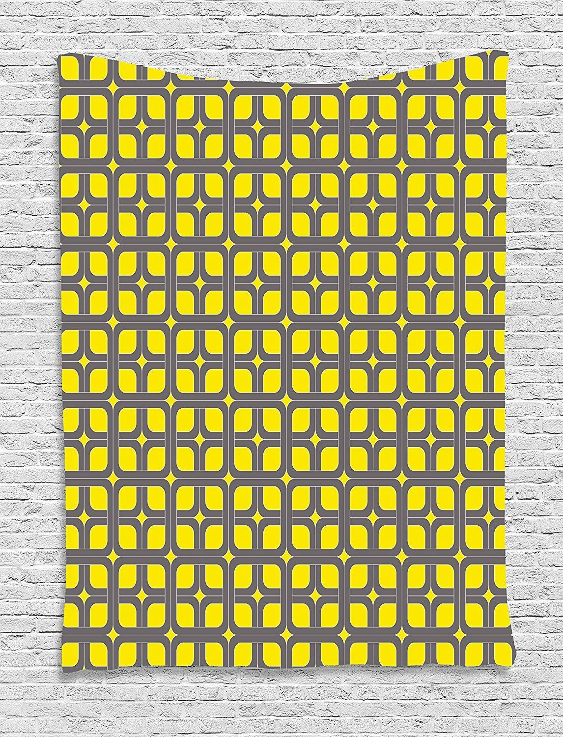 XHFITCLtd Modern Decor Tapestry, Geometric Image Squares and Borders Contemporary Minimalist Art, Wall Hanging for Bedroom Living Room Dorm, 40WX60L Inches, Yellow and Charcoal Grey
