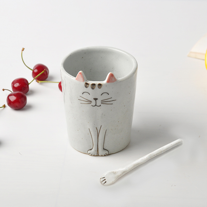 Wholesale Cute Breakfast Cat Porcelain Coffee Mug Ceramic Cups