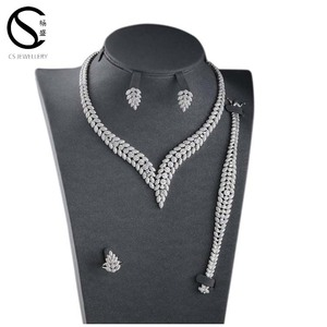 Best selling unique design woman indian cubic zirconia jewelry necklace set
