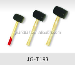 Plastic/rubber hammer/mallet with wooden handle