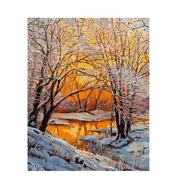 CHENISTORY DZ 99908 Snow DIY Painting By Numbers Landscape Hand Painted Oil Painting Home Decor Acrylic Modern Wall Art Picture